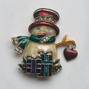 Monet vintage pin Snowman with dangling heart
